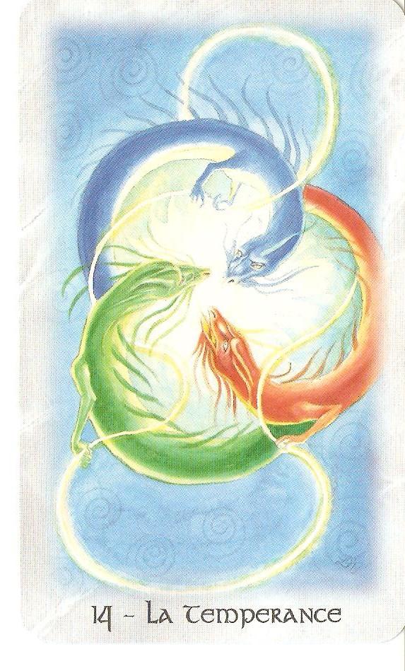 La tempérance nous aide à trouver une harmonie dans notre existence et nous signale que des êtres bienveillants nous apportent leur aide. Cette lame est liée avec les énergies qui circulent, elle est donc fortement active dans le domaine spirituel.